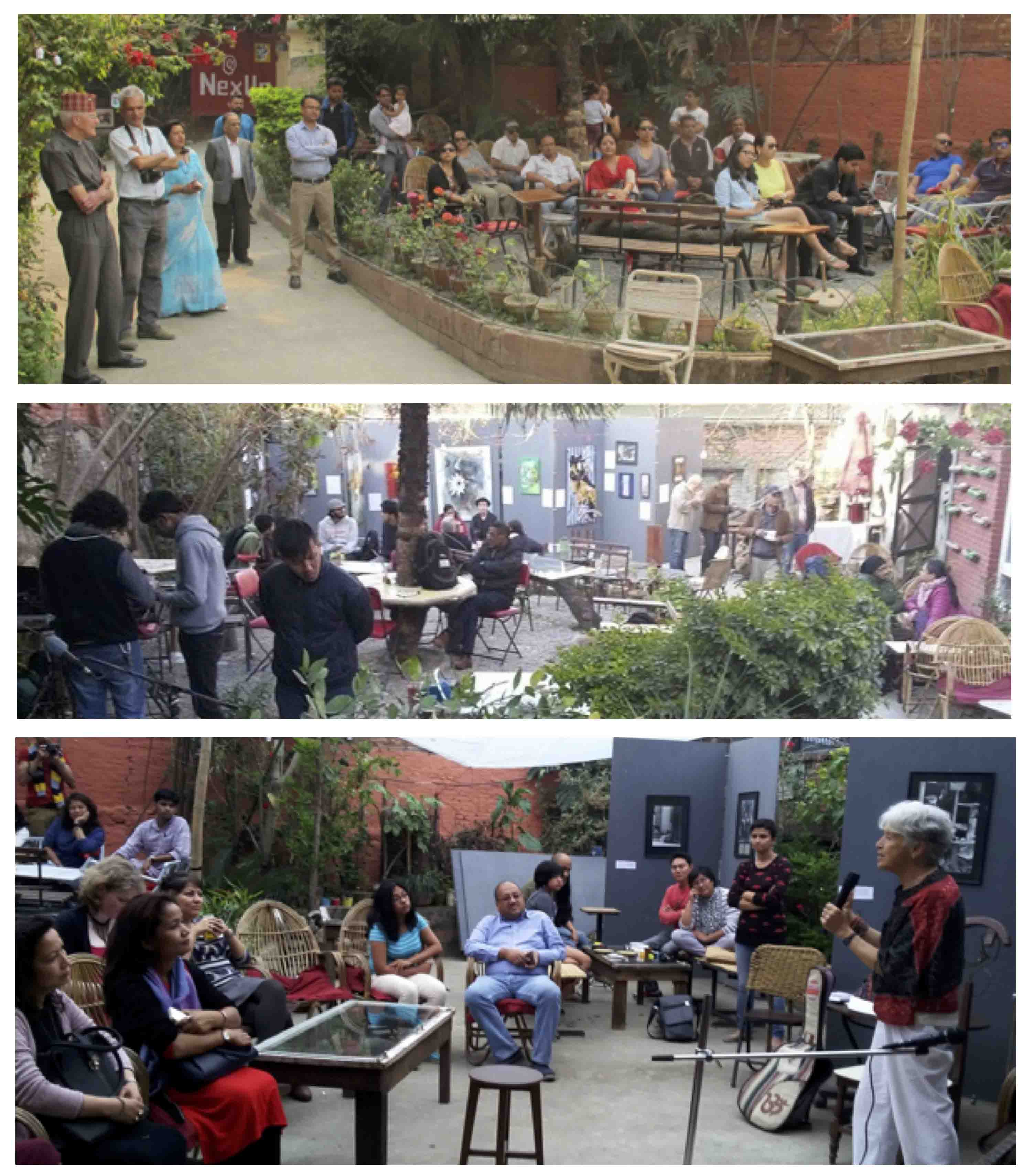 Different events @ LASANAA / NexUs: Top to bottom : a- Delighted Parents watching  Children's Performance, b- Spread the Love Exhibition and Conversation , c- Besty Rose ,  Feminist singer Singing  !